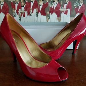 Marc Fisher Red Patent Leather Peep-Toe Pumps